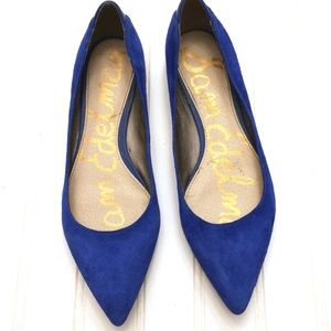San Edelman blue suede Rae pointed toe flats